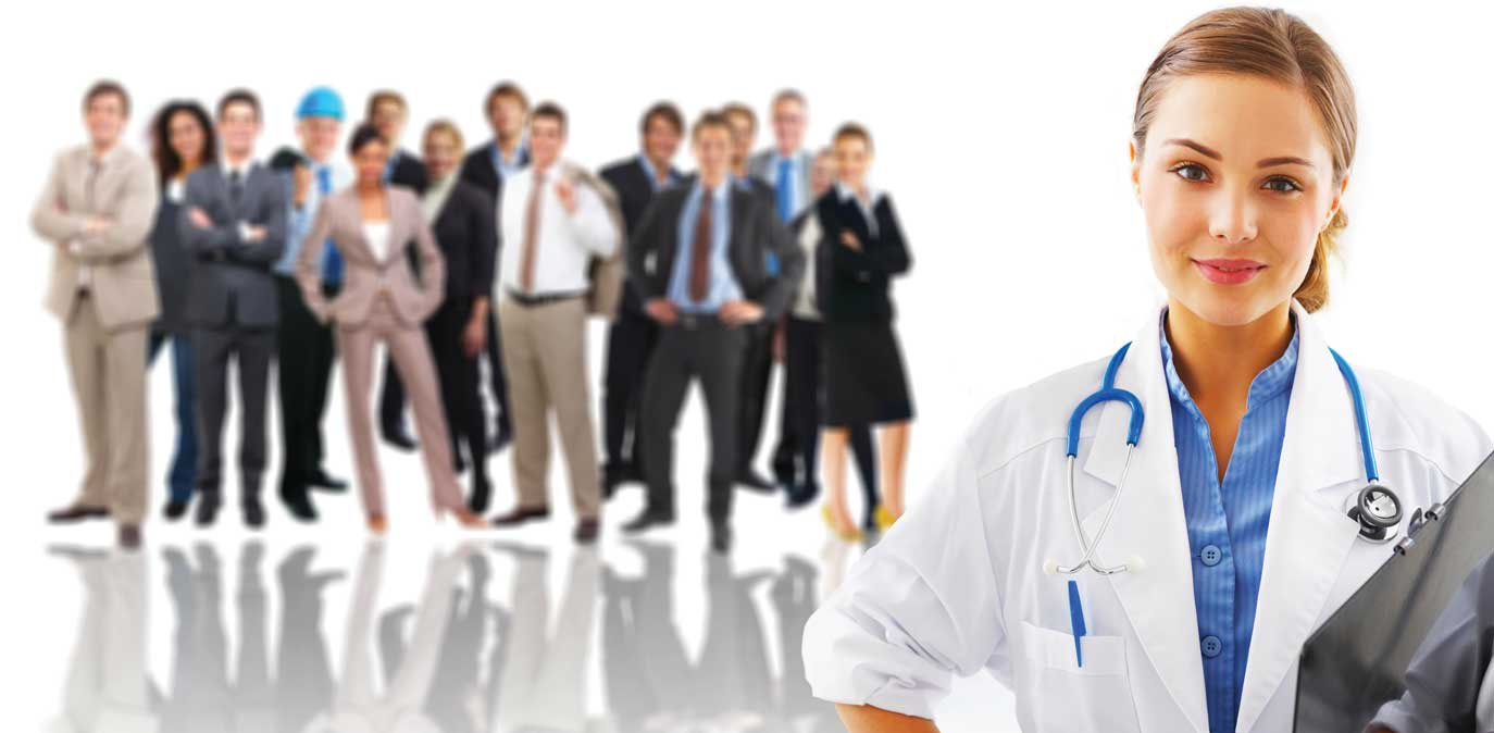 doctor with group of people in background