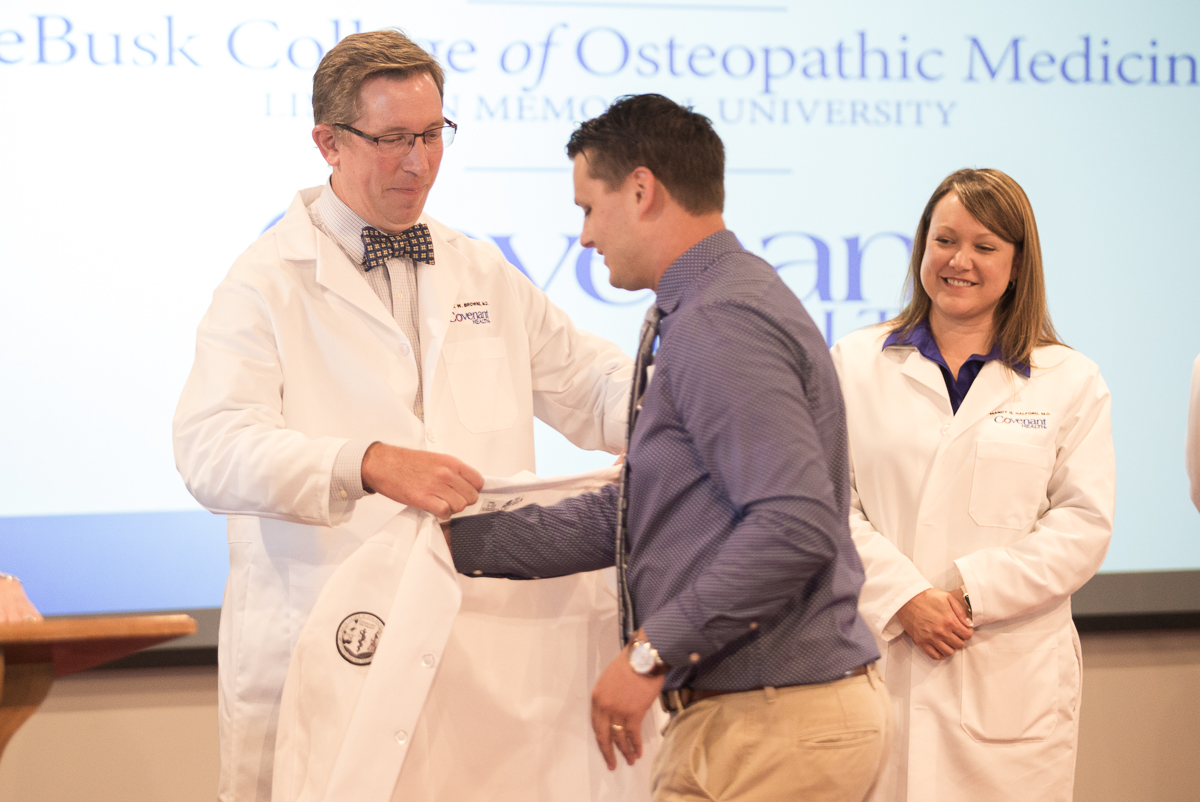 Blake Houser receives LMU White Coat