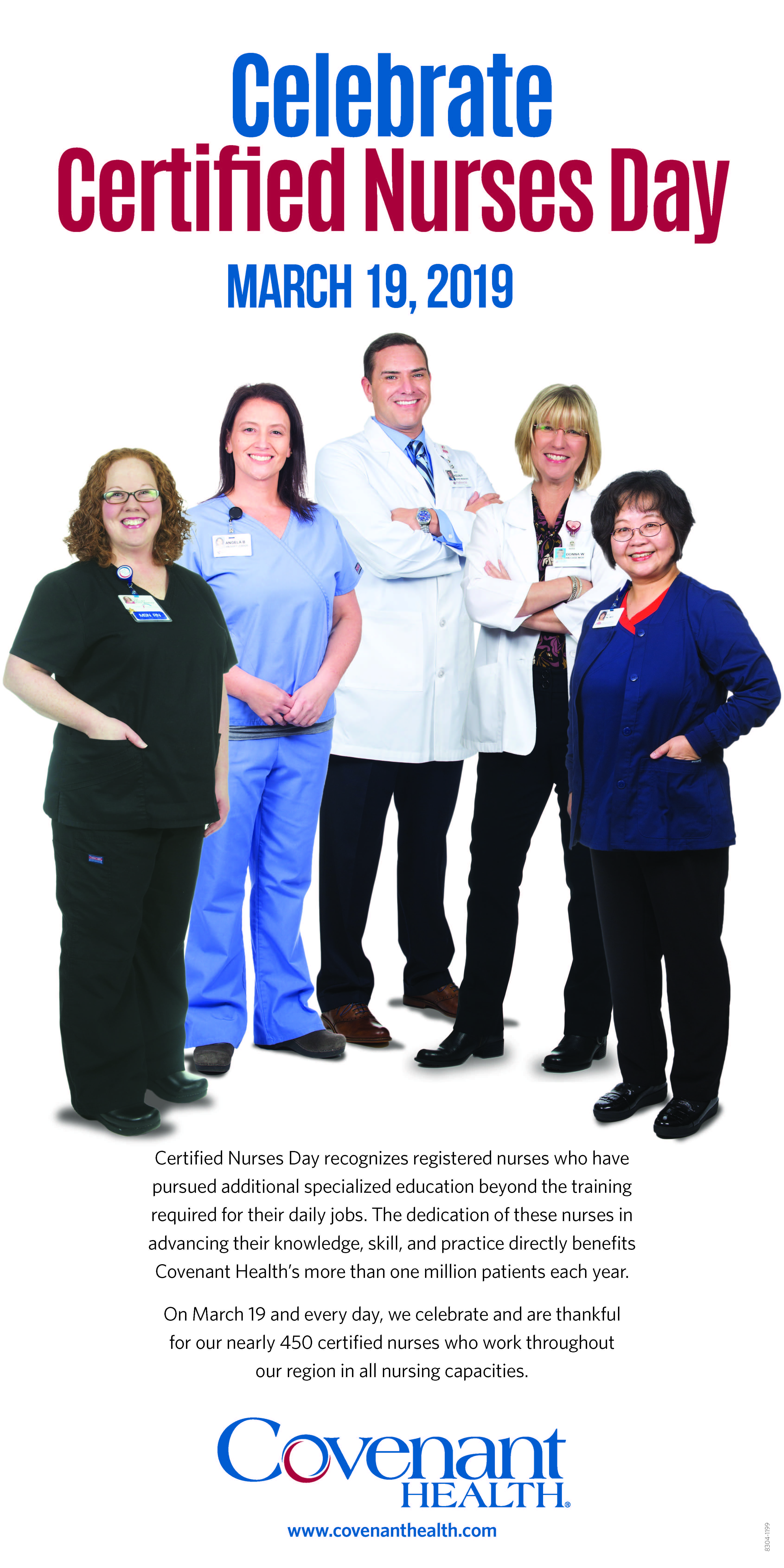 Covenant Health celebrates Certified Nurses Day on March 19.