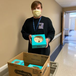 Jesse Gibson, an Environmental Services team member at Cumberland Medical Center, is an everyday hero for spreading love and cheer every day as he delivers community donations to all of our staff.