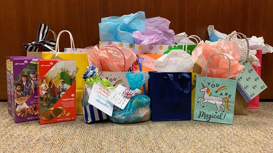 The Parkwest Medical Center team appreciates the support of the Farragut High School volleyball team, who donated these goody bags filled with Girl Scout cookies.