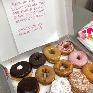 Dunkin' Donuts of Lenoir City showed their appreciation to the Fort Loudoun Medical Center laboratory staff with a yummy delivery of donuts. Thank you, for your thoughtful gesture.
