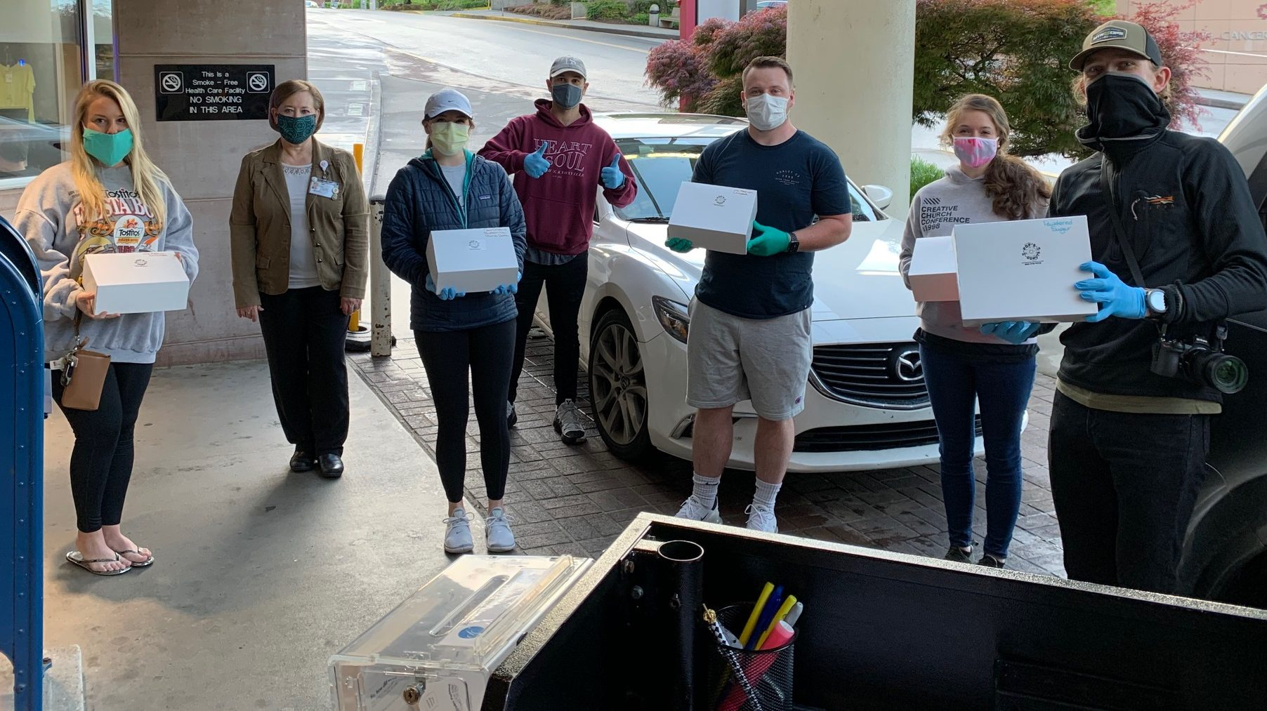 "The kind folks at HEART and SOUL Church delivered nearly 600 Pops Original Donuts to the Fort Sanders Regional team, along with some much needed mask ""ear savers."""