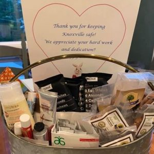 Laura S. donated these thoughtful break-room baskets to the Parkwest Medical Center physical, occupational and speech therapy teams, as well as the teams on Five Riverstone.