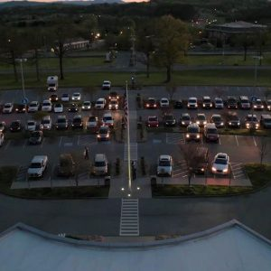 Parishioners from New Hope Church organized a community prayer event called Light the Night for LeConte Medical Center encouraging the community to gather in the parking lot and pray for local healthcare heroes.