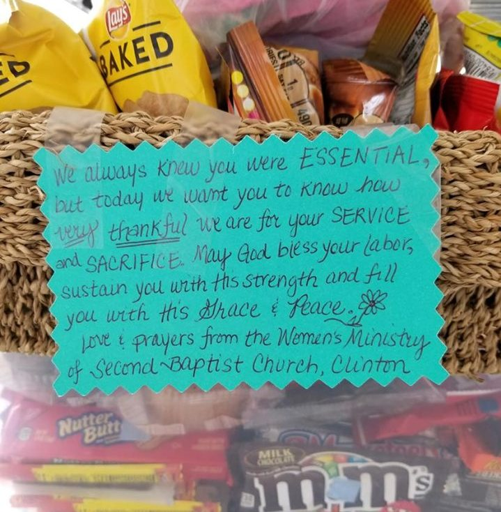 "Women's Ministry of Second Baptist Church in Clinton delivered a ""snack surprise"" and encouraging words in handwritten notes for Methodist Medical Center staff members."
