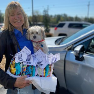 Thank you, Human Animal Bond in Tennessee (HABIT) pet therapy dog Molly and Sharon Moore, who delivered 25 hand-sewn masks for Cumberland Medical Center.