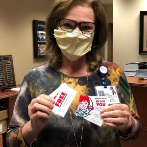 The Parkwest Medical Center registration and surgery all received a coupon for a free burger from Wendy's. Thank you, we are grateful for your generous support.