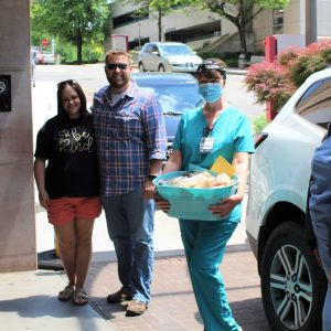 Thank you to Amanda and Dustin Phillips, who delivered baby Parker at Fort Sanders Regional recently, for stopping by with treats for the Women's Services Department.