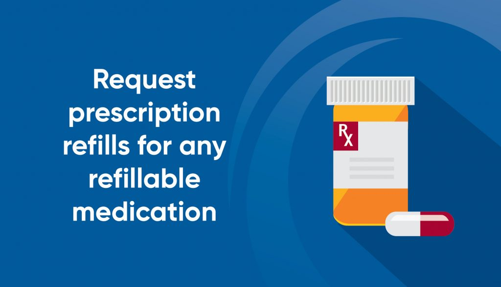 prescription refill request graphic with a graphic of pill bottle and a pill outside the bottle