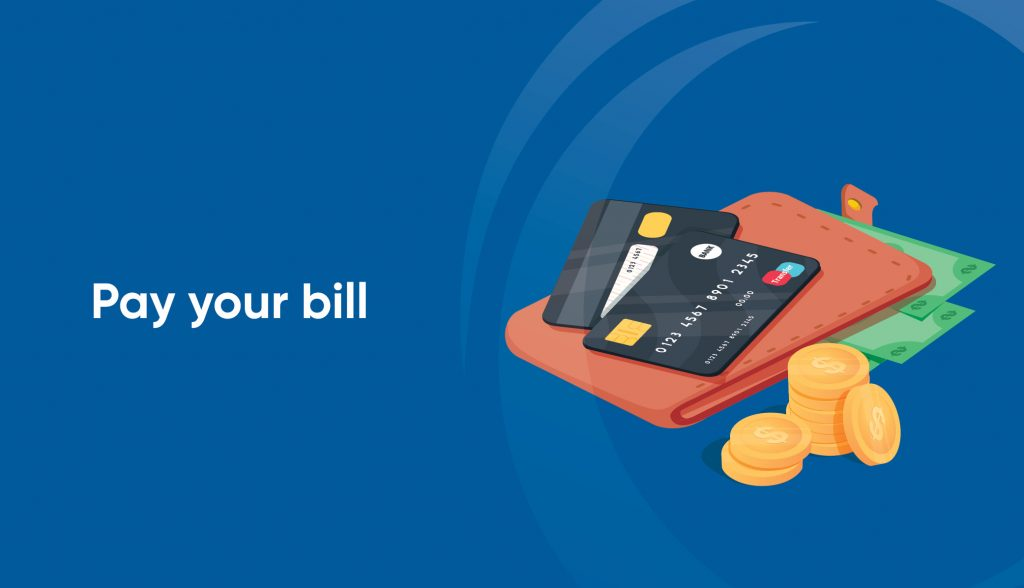 pay bills graphic with graphic of credit cards, wallets, coins and money